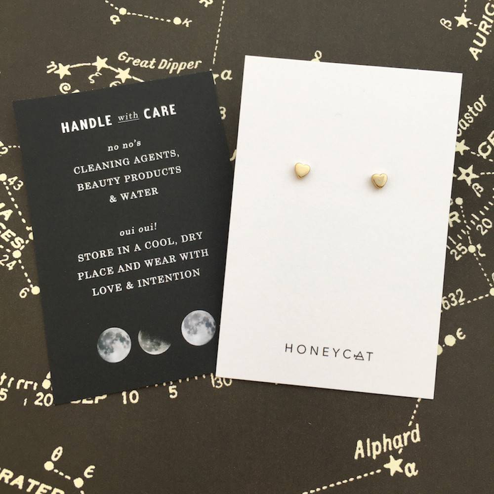 Honeycat Honeycat Mini Heart Stud Earrings - Gold