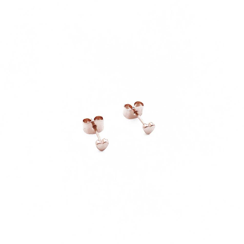 Honeycat Honeycat Mini Heart Stud Earrings - Rose Gold