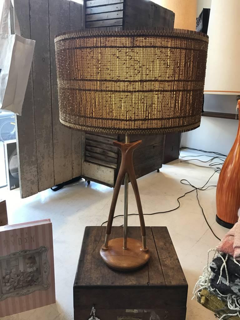 Vintage Danish Mid-Century Teak & Brass Lamp