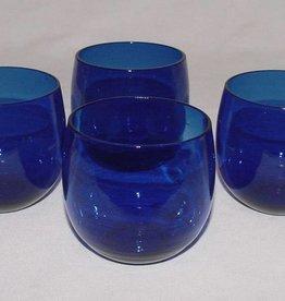 Vintage Colbalt Blue Roly Poly Tumbler Glasses (3)
