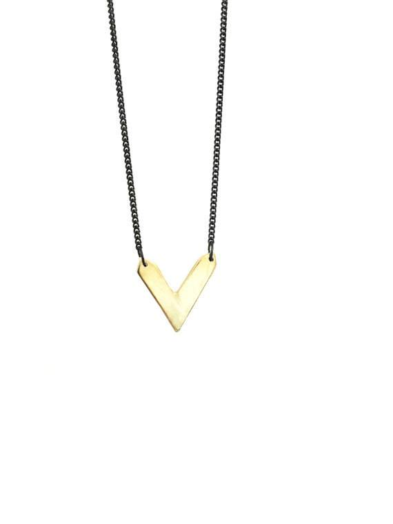 Mana Made Jewelry Mana Made Brass V Necklace
