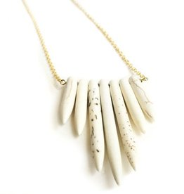 Mana Made Jewelry Mana Made Howlite 7 Stone Long Spike Necklace
