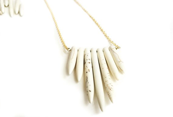Mana Made Jewelry Mana Made Howlite 7 Stone Long Spike Necklace