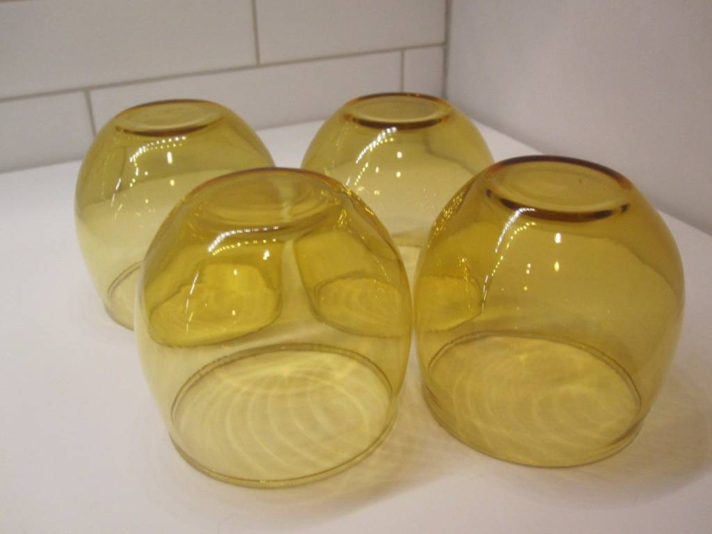 Vintage Yellow Amber Roly Poly MCM glasses (4)