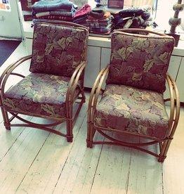 Vintage 1940's Rattan Chair w/Cushion