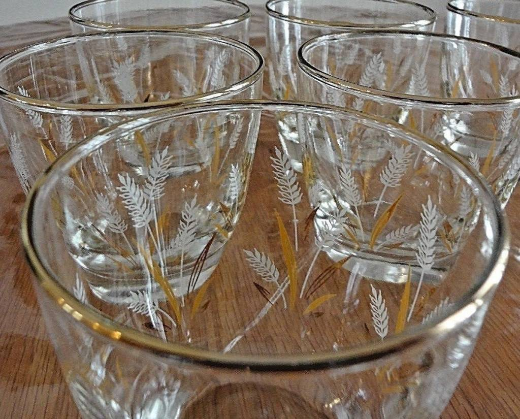 Vintage Golden Wheat Libby Roly Poly Glasses (7)