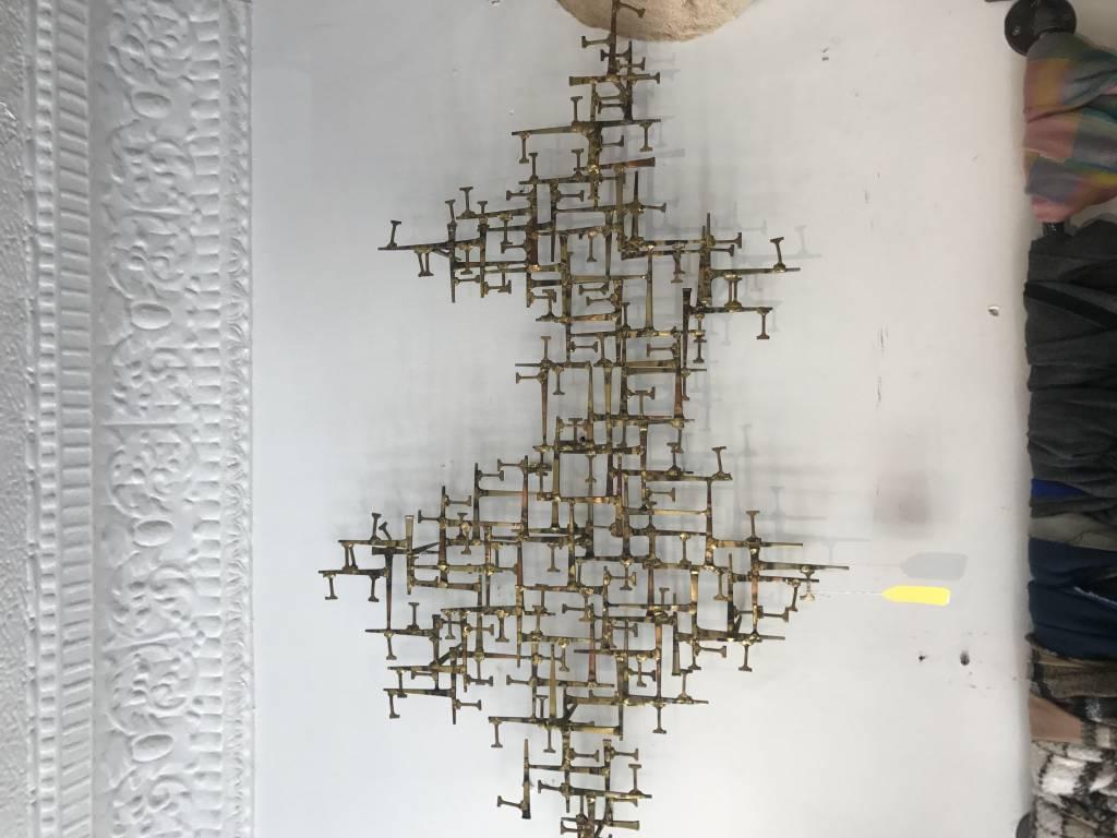 Vintage Mid-Century Metal Wall Sculpture