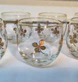 Vintage Roly Poly Glass - Gold Leaf Clover