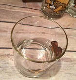 Vintage COUROC Lowball Whiskey Glass - MUSHROOMS
