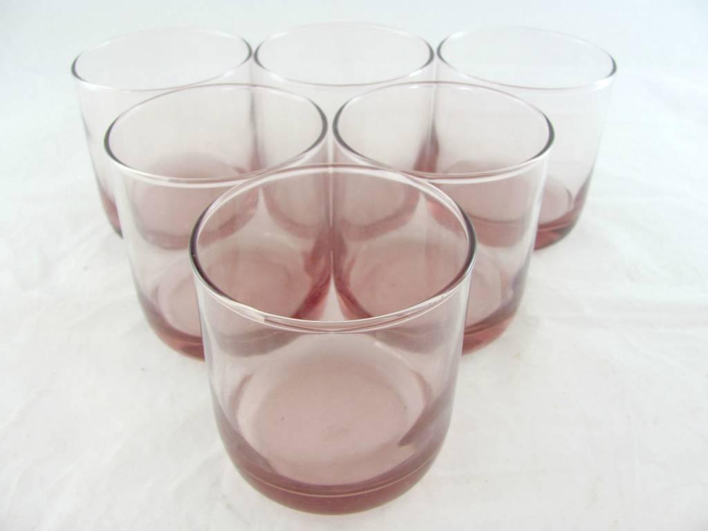 Vintage Libbey Metropolitan Glass Rocks Tumblers 10 oz Rose