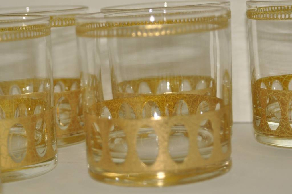 Vintage Culver, LTD Antigua Rocks Low Ball Glass 22K Gold