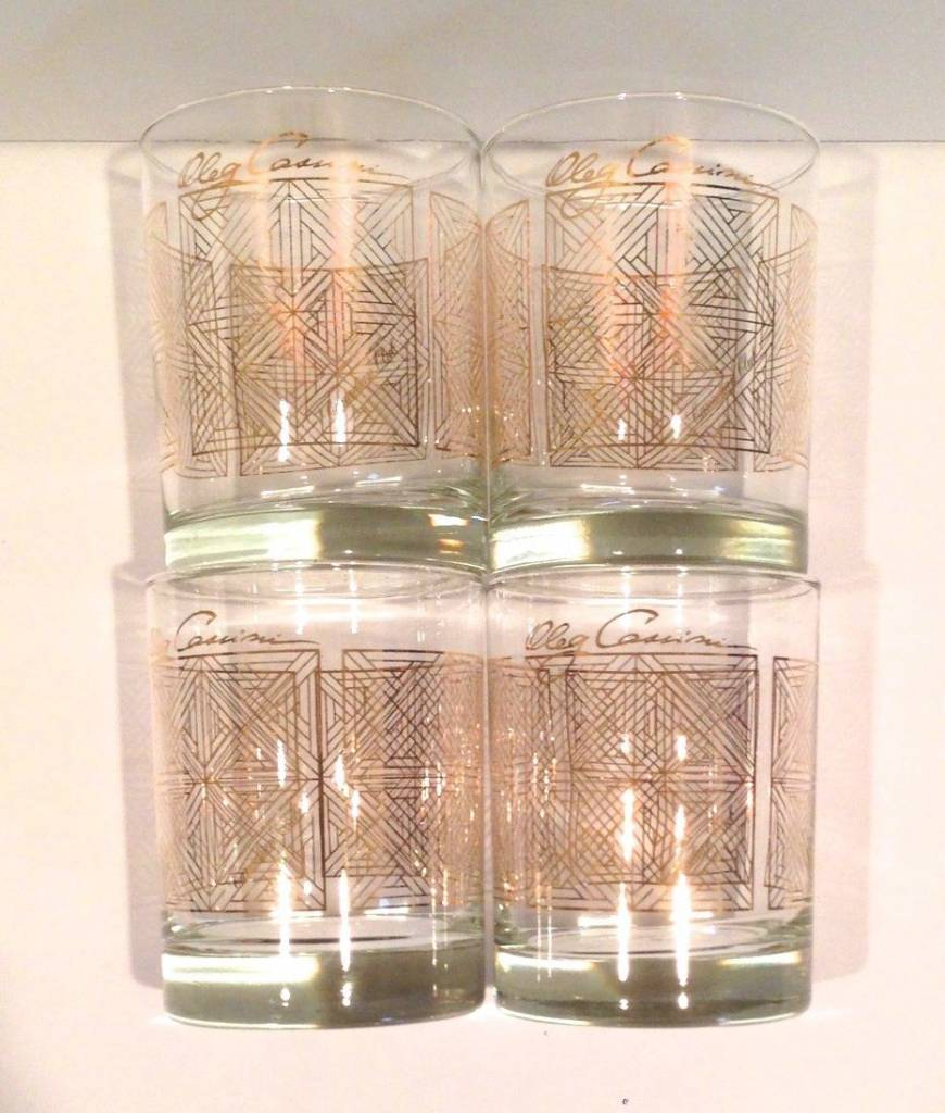 Vintage Oleg Cassini Canadian Club 22 Kt Gold Old Fashioned Rocks Glasses (4)