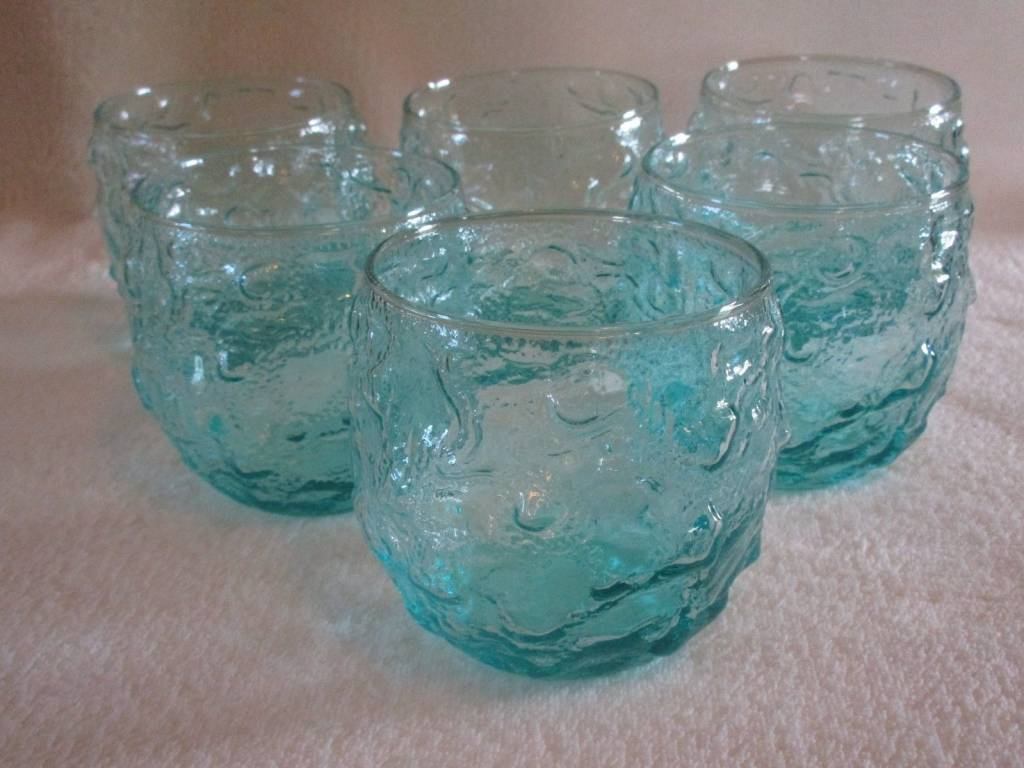 "Vintage ANCHOR HOCKING LIDO MILANO Turquoise Aqua 3 3/8"" Roly Poly Rocks Glasses 6"