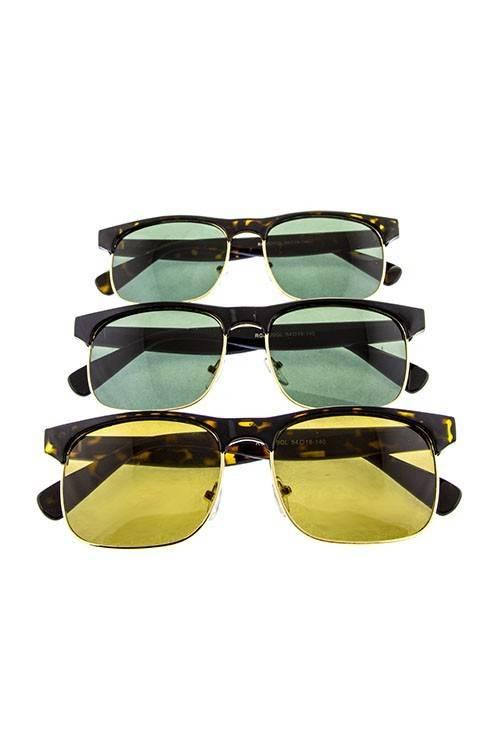 Ocean and Land Half Frame Glass Lens Sunglasses