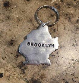 f.is for frank Brooklyn keychain pewter