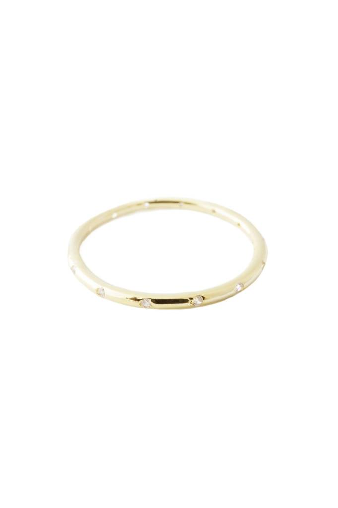 Honeycat Honeycat (size 6) Dotted Crystal Band Ring - Gold