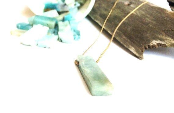 "Mana Made Jewelry Mana Made Amazonite Long Stone Necklace   28"""
