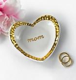 Modern Mom Heart Ring Dish Gold Rim