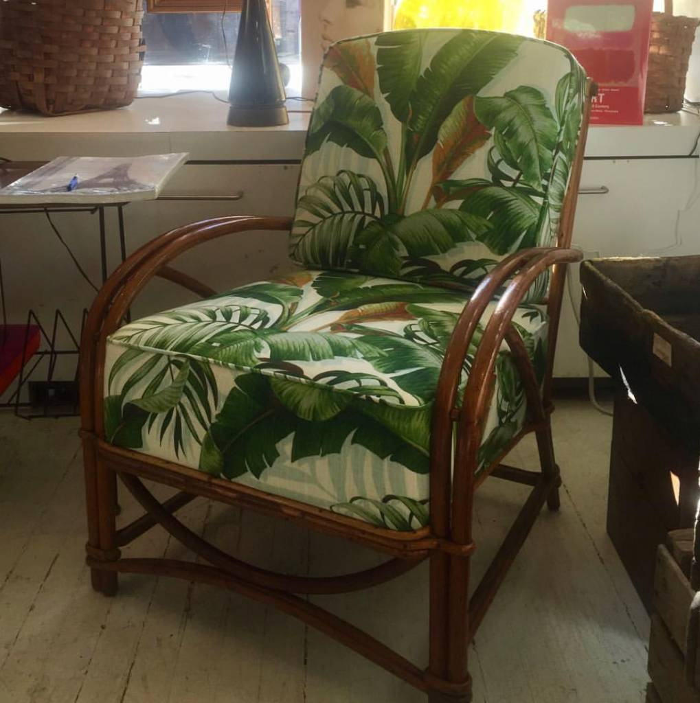 Vintage 1940's Rattan Chair w/Cushion