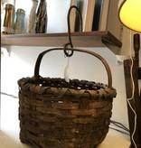 Vintage Round Basket with Metal Hook