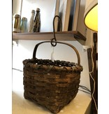 Vintage Round Basket with Metal Hook