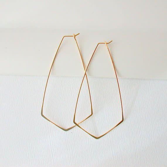 Linda Trent Jewelry Linda Trent Large Diamond Cut Hoops 14k Gold Filled