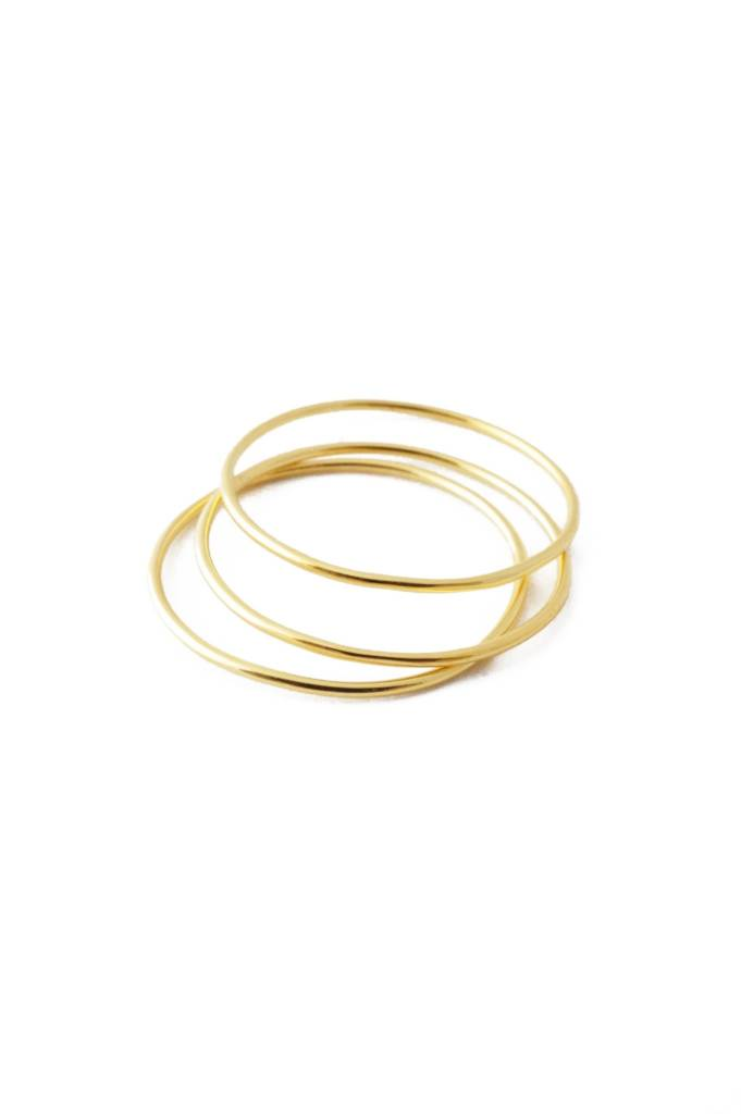 Honeycat Honeycat (Size 7) Super Skinny Stacking Rings (3) - Gold
