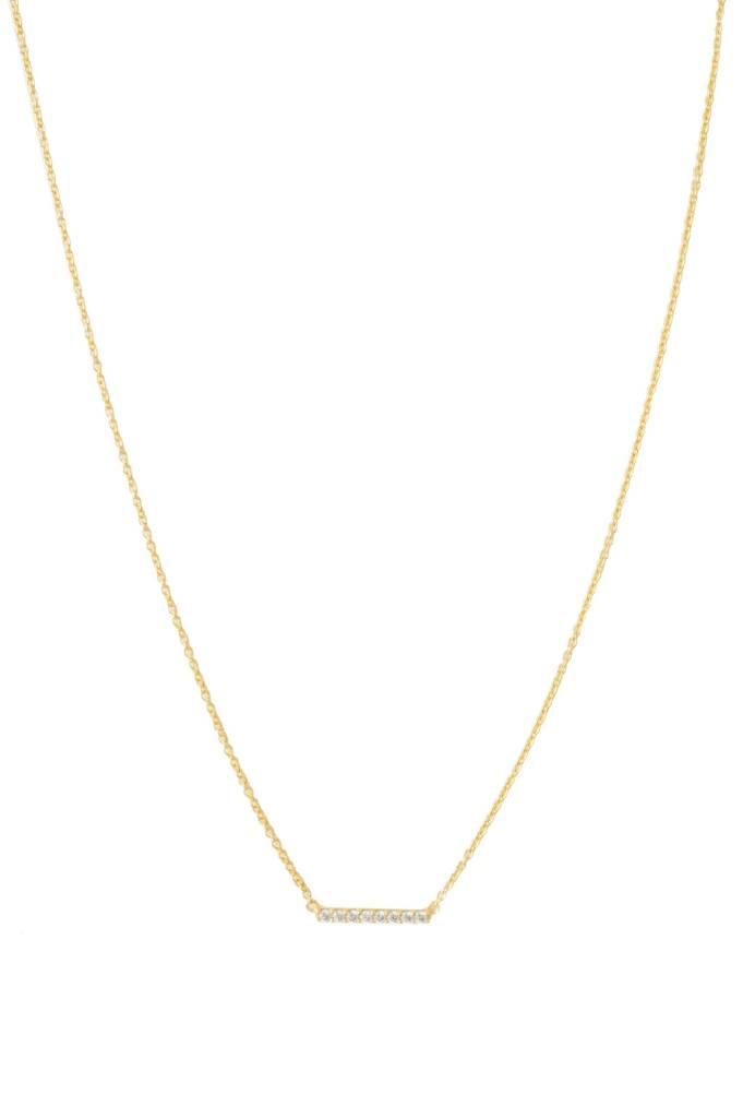 "Honeycat Crystal Horizontal Bar Necklace - Gold 14-17"""