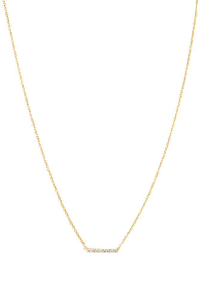 Honeycat Honeycat Crystal Horizontal Bar Necklace - Gold 14-17""
