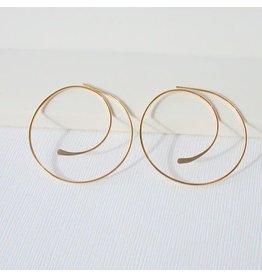 "Linda Trent Jewelry Linda Trent  7/8"" Swirl Hoop - Gold"