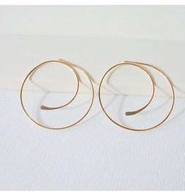 "Linda Trent Jewelry Linda Trent  7/8"" Swirl Hoops 14k Gold Filled"