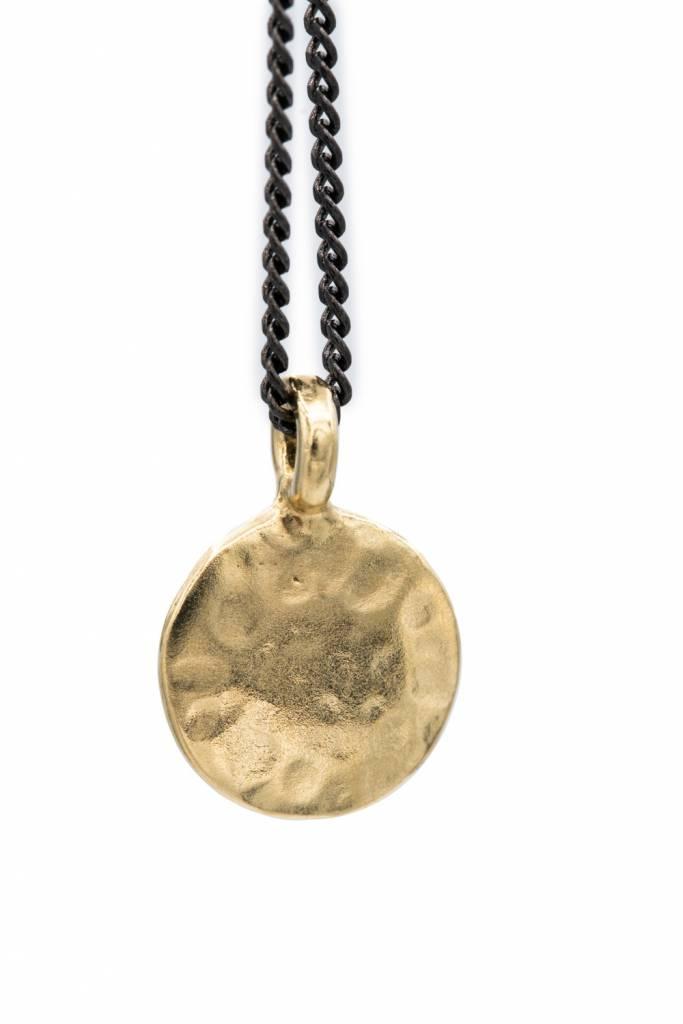"Mana Made Jewelry Mana Made Hammered Circle Charm Necklace 21"""