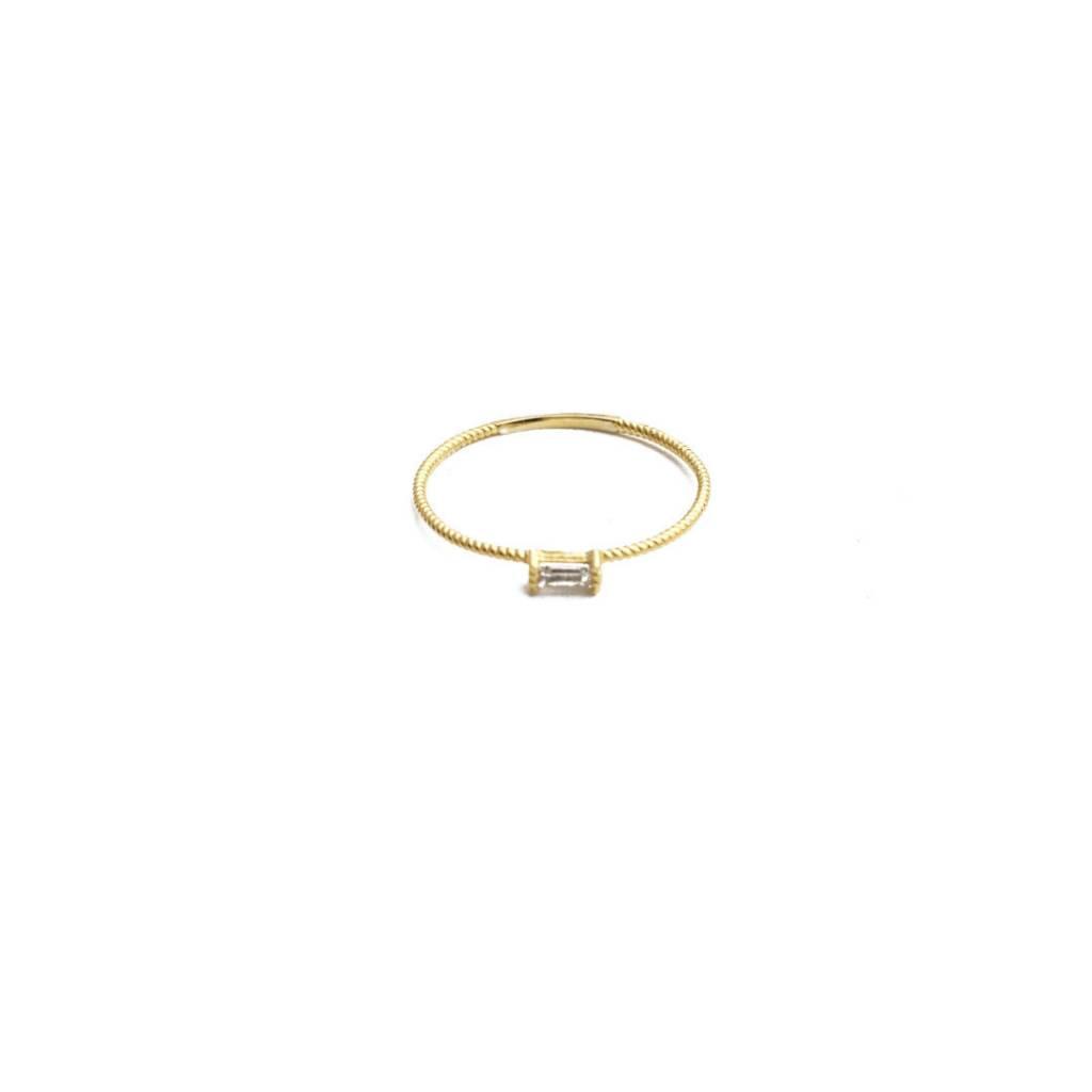 Honeycat Honeycat Crystal Baguette Twist Ring
