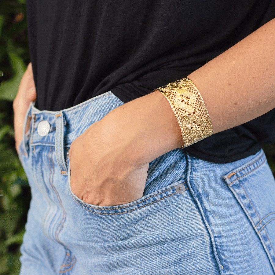 Camille Jewelry Camille Jewelry Lace Brass Cuff
