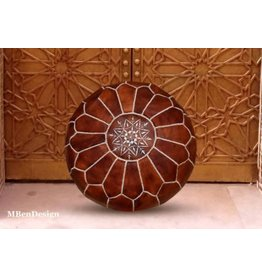 """MBenDesign MBenDesign- Moroccan leather Pouf - Dark Tan - 20"""" D x 12"""" H"""