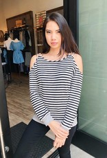 Stripe Knit Cold-Shoulder Top