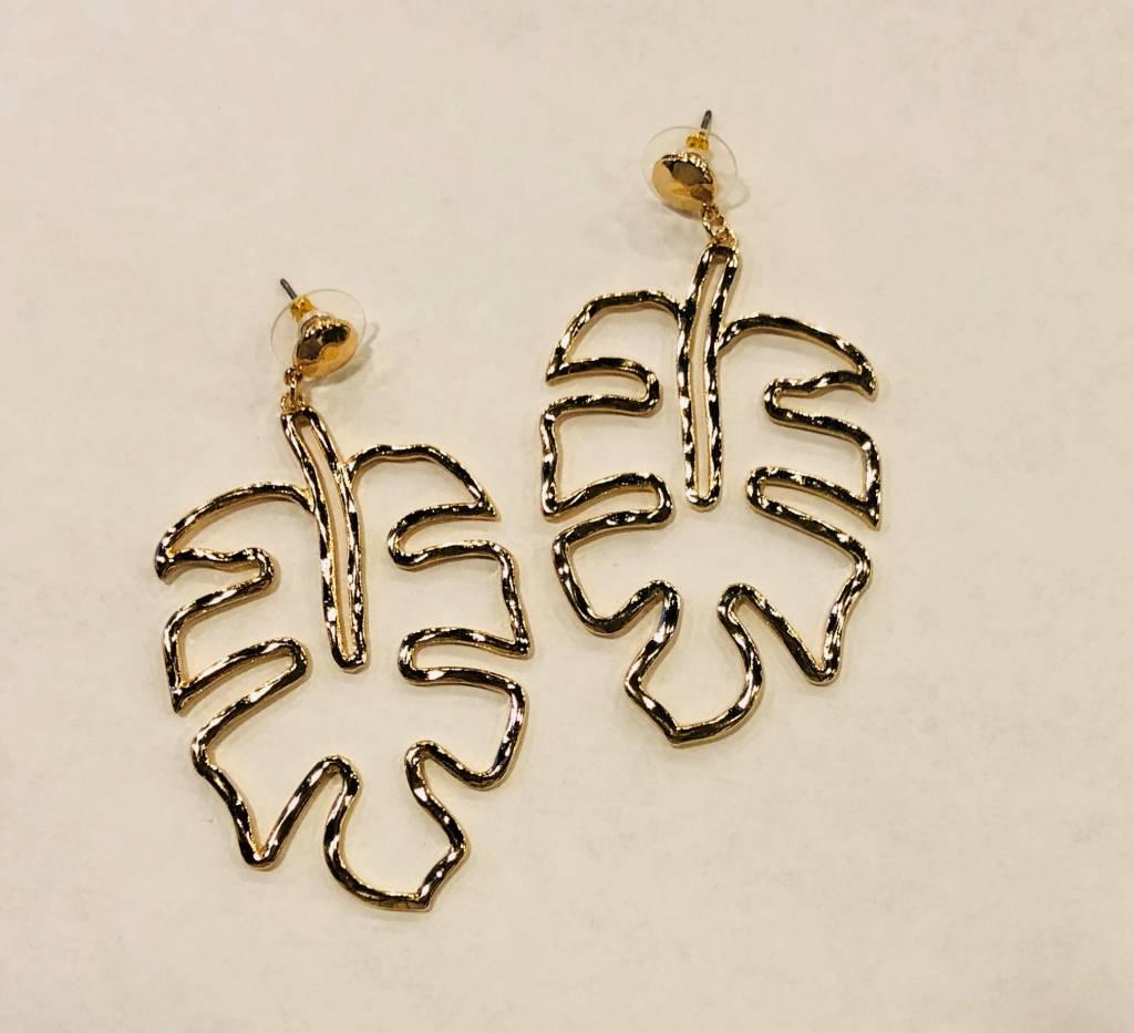 Monstera Outline Earrings