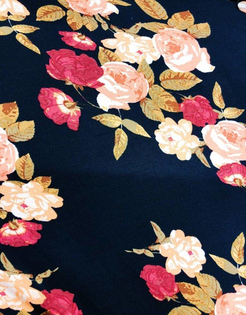 Navy & Floral Maxi Dress