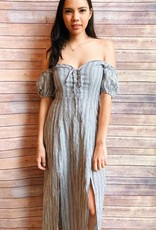 Off Shoulder Striped Maxi with Slits