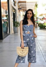 Mixed Print Strapless Jumpsuit