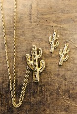 Long Cactus Necklace and Earrings Set