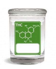 Stash Jar 170ml THC Molecule Green Writeable