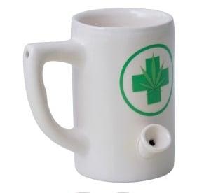 Ceramic Mug Pipe 8oz White Hemp Leaf