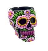 "Sugar Skull Ashtray 4"" Black/Purple"
