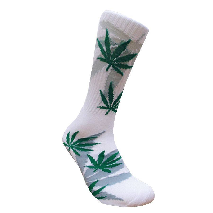 Leaf Republic Socks White w/ Green/Gray Leaves