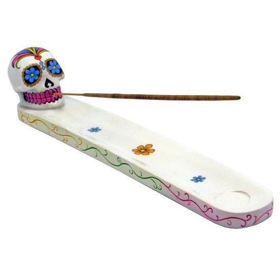 White Sugar Skull Incense Holder