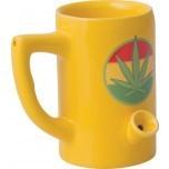 Ceramic Mug Pipe 8oz Yellow Hemp Leaf