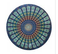 THREADHEADS Peacock Mandala Round Tapestry