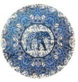 THREADHEADS Elephant Flower Round Tapestry