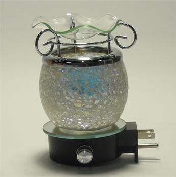 Blue Crackle Wall Plug Oil Lamp